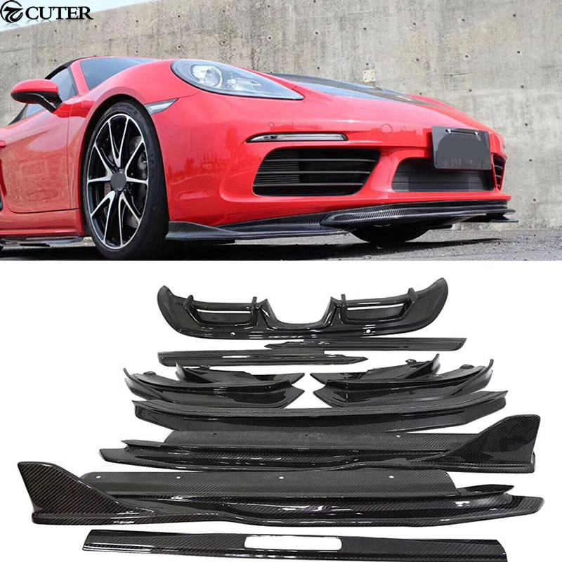 13pcs <font><b>718</b></font> Car body kit Carbon fiber Front lip rear diffuser side skirts rear spoiler Side air inlet for Porsche <font><b>Boxster</b></font> <font><b>718</b></font> 2015 image