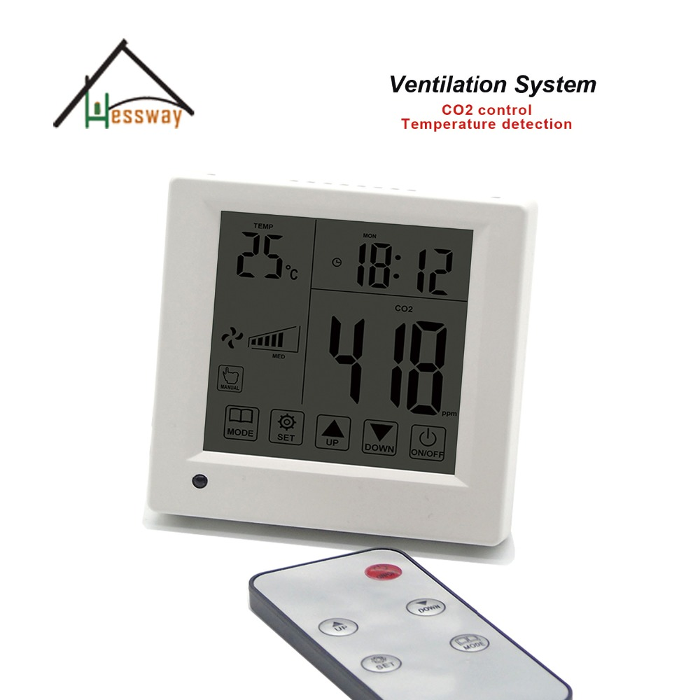 Remote control Equivalent co2 gas regulator 3 speed ventilator for office conference room