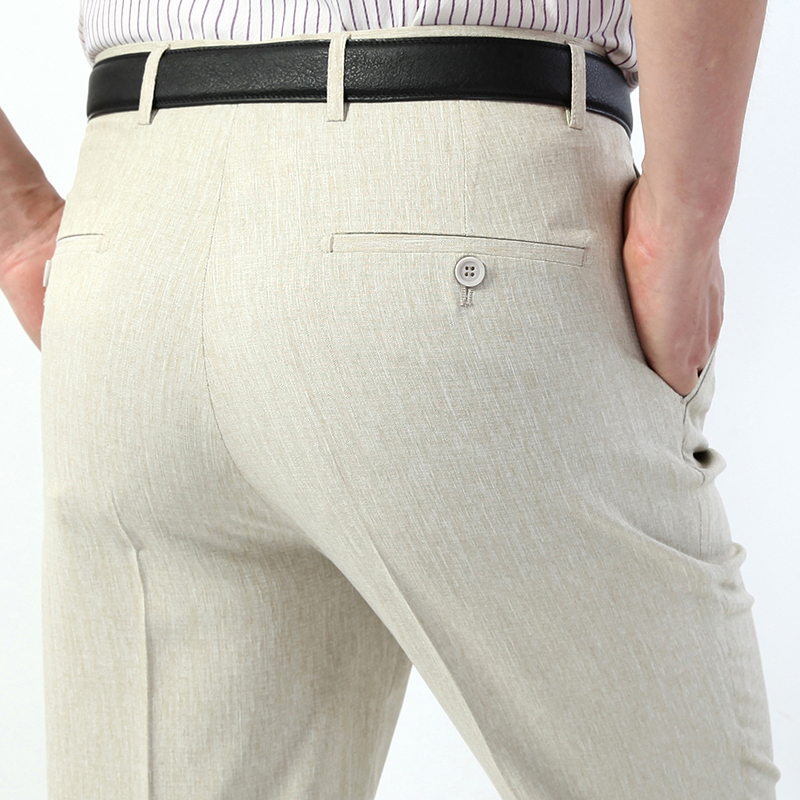 Брюки ICPANS мужские, летние, тонкие, прямые, свободные, деловые, мужские брюки для офиса, брюки для официального костюма, мужские, большой размер 42, 44|Повседневные брюки|   | АлиЭкспресс