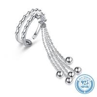 925 Sterling Silver Open Diamond Rings for Women Double Row Zircon Fine Jewelry Geometric American and European Style Ornament