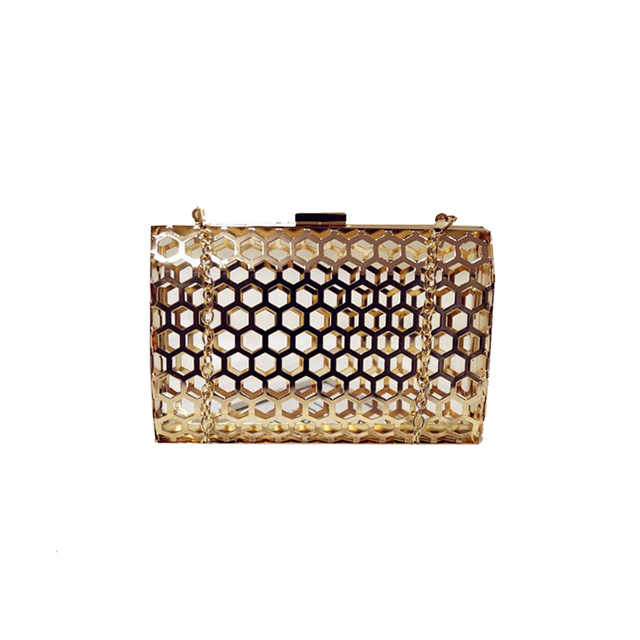 Unique Fashion Hollow Metal Casual Party Clutch Bag For Women Gold Cages Evening Las Shoulder
