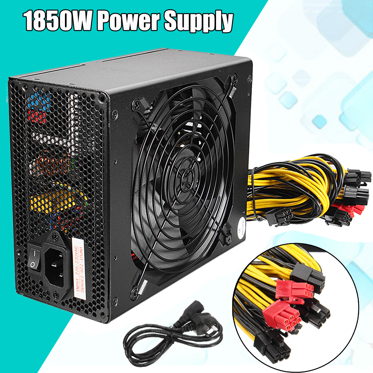 1850 W MAX Miner alimentation 6 broches pour Antminer S9/S7/A7/A6/L3/R4 Bitcoin Coin Miner ordinateur alimentation pour BTC