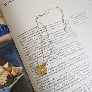 Image 5 - LouLeur 925 srebro złoty kolor Roman Disk Chokers naszyjnik Femme medalion moneta naszyjnik dla kobiet biżuterii