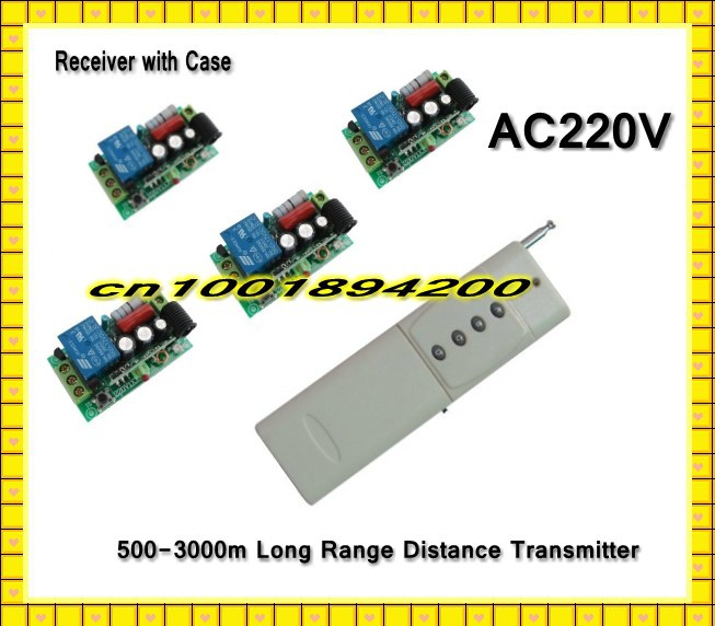 AC220V Long Distance Remote Control Switch System 500-3000m Transmitter + 10A Receiver Learning Code Momentary Toggle Latched 3ch wireless remote control switch system ac 85v 250v 30a learning code toggle momentary led on off wireless switch sku 5498