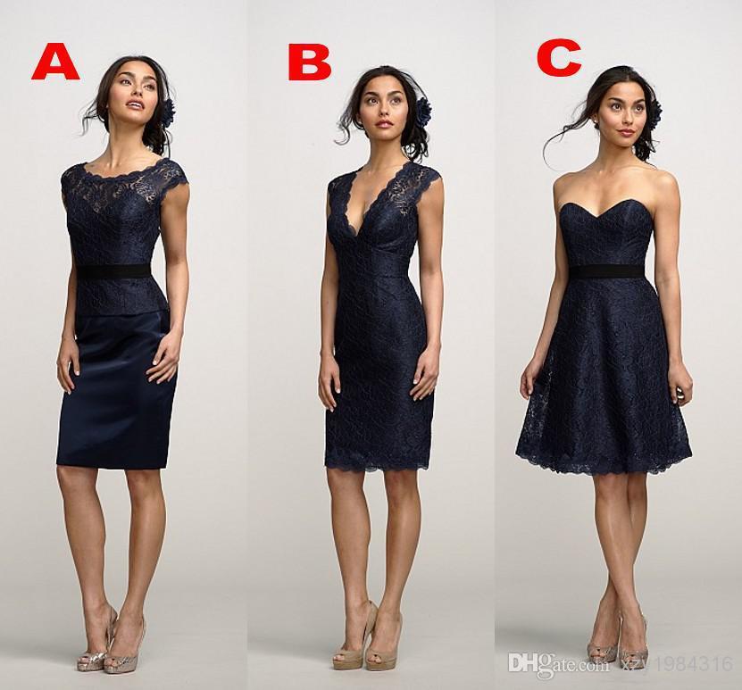 2015 Free Shipping Elegant Lace V-Neck/Sweetheart/Scoop Sheath Lace Satin Short New Design Three Type Fashion   Bridesmaid     Dresses