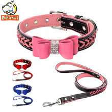 Crystal Suede Dog Pet Collar and Leads Set Braided Rhineston