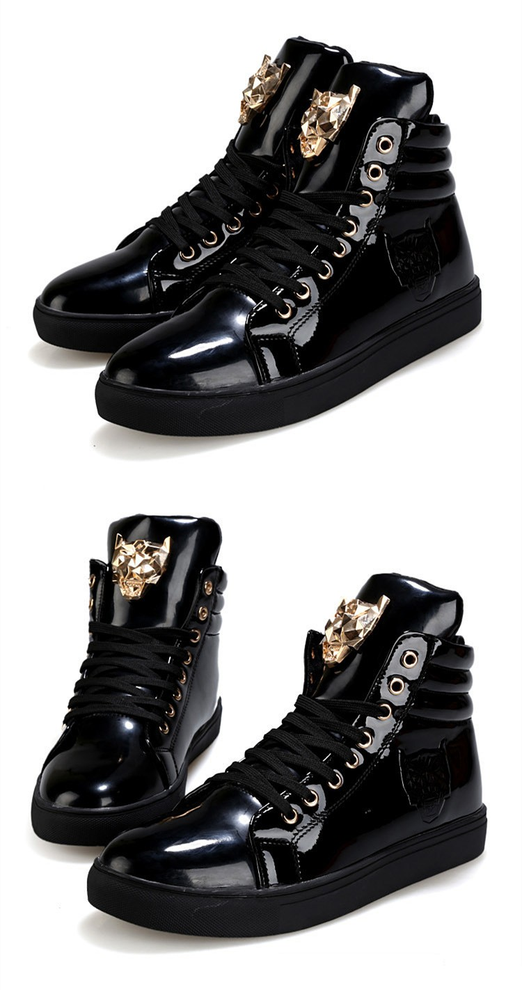 Fashion Leopard Sequined Skate Shoes For Men Ankle Boots 2015 New PU Patent Leather Shoe High Top Casual Flats Medusa Shoes F184 (16)