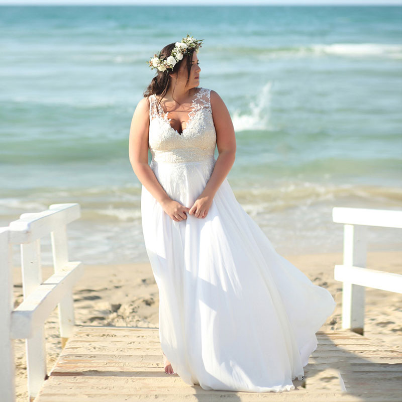 LORIE Plus Size Wedding Dress Boho V Neck Appliques Lace Beach Bride Dress Chiffon White Ivory