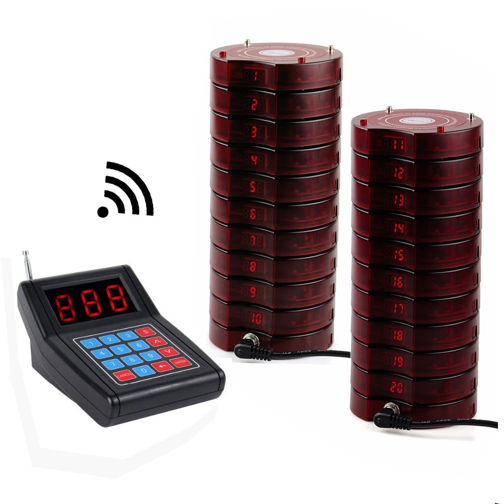 Système de mise en file d'attente sans fil de téléavertisseur de Restaurant 1 transmetteur + 20 téléavertisseurs d'équipements de Restaurant rechargeables F4475 - 2