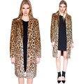 Длинный Кардиган Colete Де Пеле Искусственного Меха Пальто Плюс Размер S-XXL 2014 Зима Новый Модный Бренд Leopard Куртка Кролик Женщин Шуба