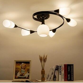 ヴィンテージ天井家庭用照明照明器具複数ロッド錬鉄製の天井灯 E27 電球リビングルーム Lamparas デ手帖