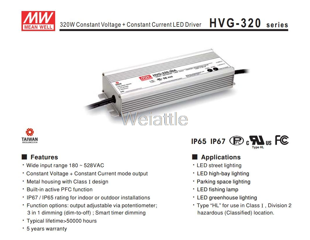 MEAN WELL original HVG-320-54A 54V 6A meanwell HVG-320 54V 324W Single Output LED Driver Power Supply A type 1mean well original hep 320 54a 54v 5 95a meanwell hep 320 54v 321 3w single output switching power supply