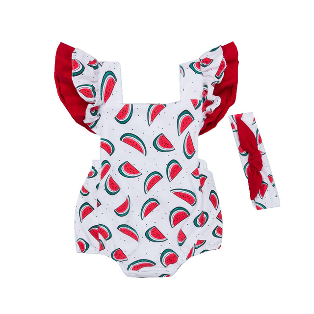 b77213cde0b Adorable Baby s Sets Infant Girls Watermelon Rompers+Headband 2pcs Set  Summer Clothes Backless Sunsuit Sleeveless Jumpsuit