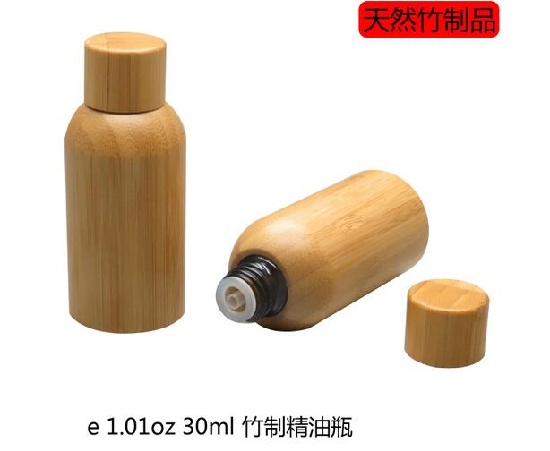 50pcs/lot 30ml Essential Oil empty Bottles with natural bamboo,glass tank,all bamboo screw cap bottle Essence liquid, perfume rose facial essence liquid genie pur essential oil 30ml replenishing activating discouraging wrinkle