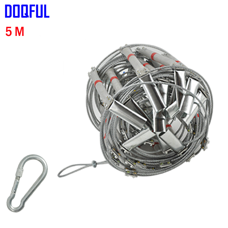 5M Fire Escape Ladder 17FT Folding Steel Wire Rope Ladders Aluminum Alloy Emergency Survival Rescue Safety Antiskid Tools outdoor multifunction camping tools axe aluminum folding tomahawk axe fire fighting rescue survival hatchet