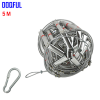 5M Fire Escape Ladder 17FT Folding Steel Wire Rope Ladders Aluminum Alloy Emergency Survival Rescue Safety Antiskid Tools