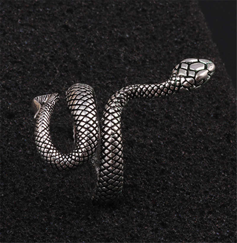 Hurtownie moda węża pierścionki dla kobiet kolor srebrny metali ciężkich pierścień punk rock w stylu Vintage biżuteria dla zwierząt