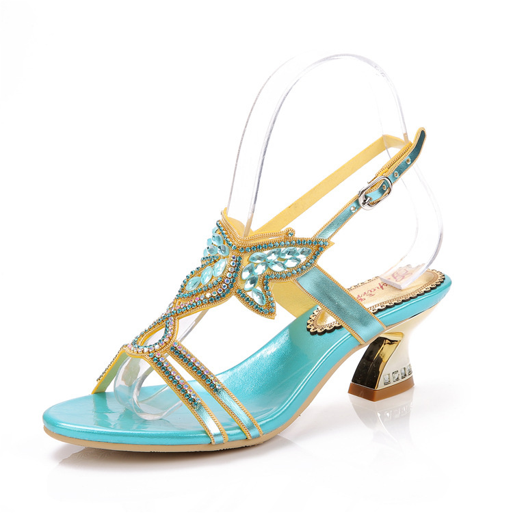 ФОТО 2016 New Summer Leather Sandals Luxury Rhinestone Shoes Thick Heel Diamond Party Sandals Blue Plus Size 43 44