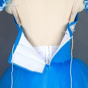 Image 5 - Özelleştirilmiş profesyonel bale dans Tutu deniz mavi uzun romantik tutuş balerin elbise kol bantları ile B18002