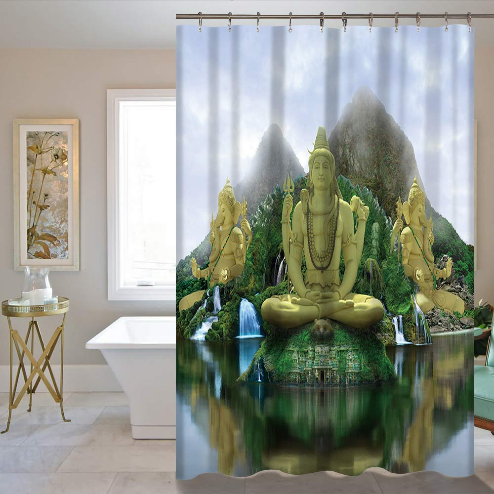 רטרו בודהיזם אמבטיה וילון מקלחת בודהה פסל חום חום Waterproof 60X72inch / 72X72inch וילון הספק מחיר סיטוני