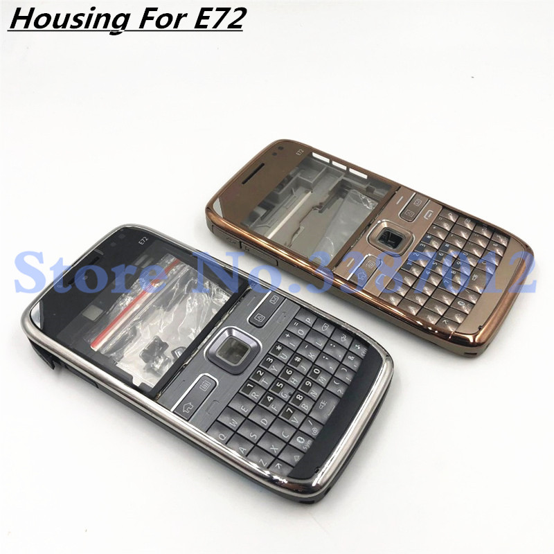 Original For Nokia E72 Housing Front Faceplate Frame Cover Case+Back Cover/battery Door Cover+English Keypad+Logo