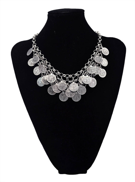 Vintage Tribal Tibet Silver Leaf Round Flower Statement Collar Choker Bib Short Chain Wide Necklace W3Br4xEb