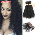7A Peruvian Kinky Curly With Closure Lace Frontal Closure With Bundles Peruvian Virgin Hair 3 Bundles With Frontal