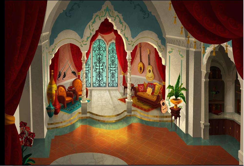 children kids background High quality Computer print Elena Palace Bedroom Suite House Curtain Arch Column Room backdrop
