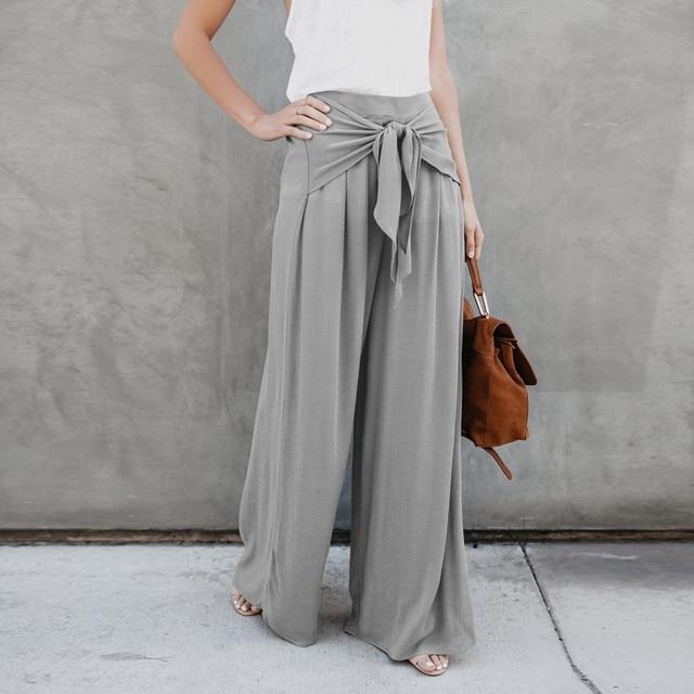 68da3599d458 Descuento Pantalones de pierna ancha Palazzo con cordón para mujer ...