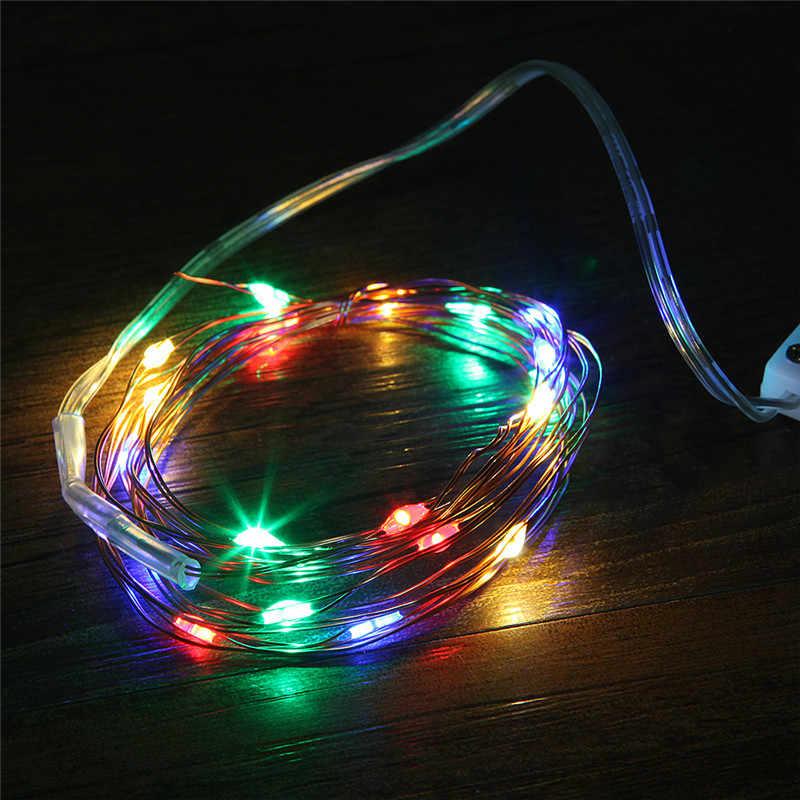 2 M 20 נוריות חג המולד זר נחושת חוט LED מחרוזת מנורת פיות אורות מקורה חדש שנה חג המולד חתונת קישוט
