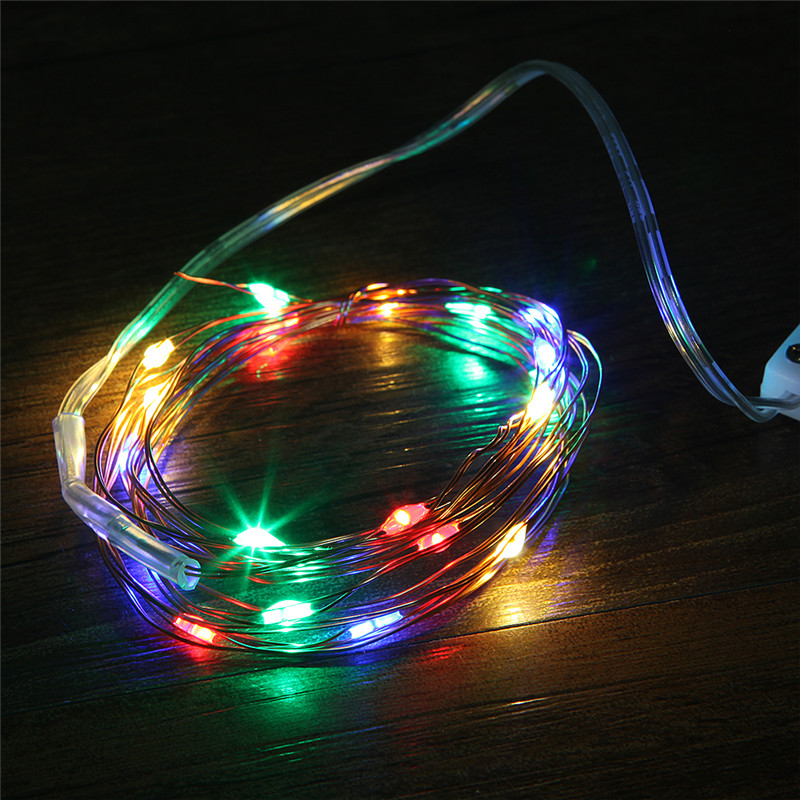 2M 20 LEDs Christmas Garland Copper Wire LED String Lamp Fairy Lights For Indoor New Year Xmas Wedding Decoration