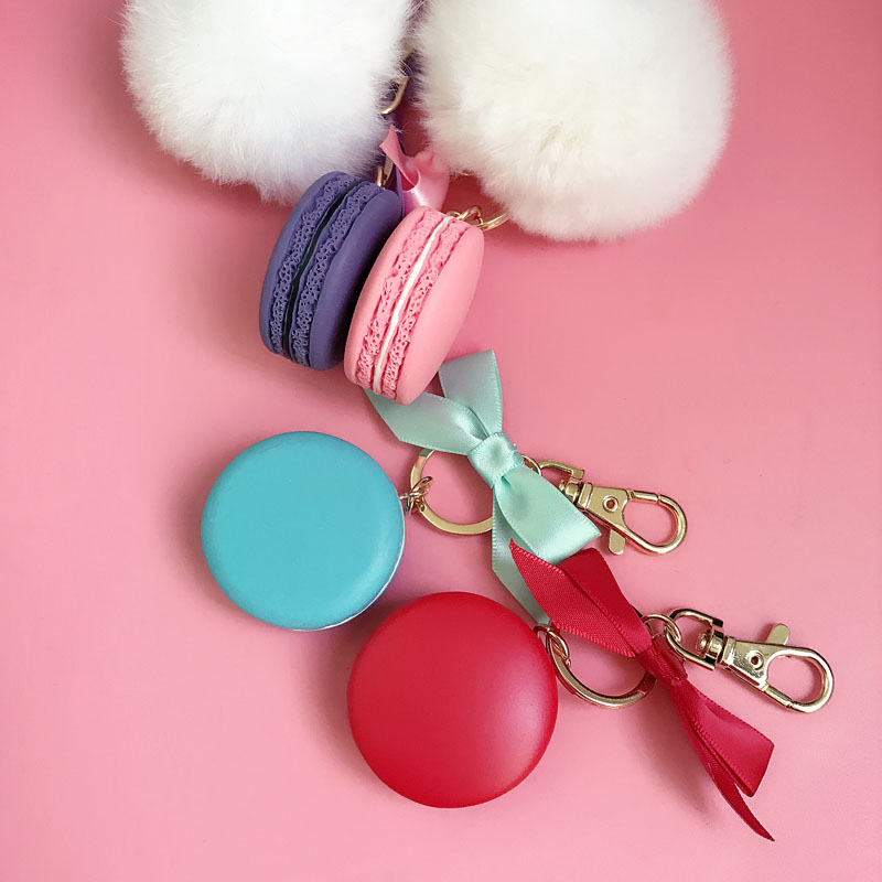 Round Key Chain France Macarons Keychains Rabbit Real Fur Ball Key - Fashion Jewelry - Photo 5