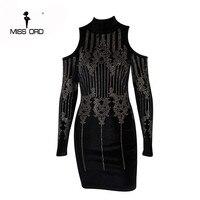 Missord 2015 Sexy Geometric Retro Rhinestone High Necked Long Sleeved Bodycon Tight Dress Velvet Party Dress