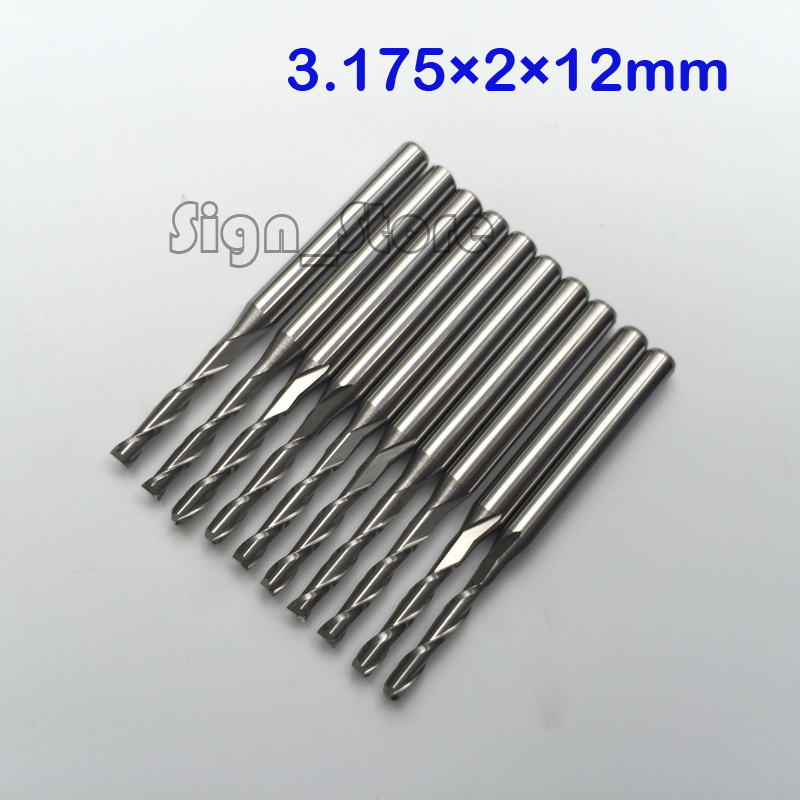 10pcs 3.175mm * 2mm *12mm Double Flute Straight Bit, Tungsten Carbide CNC Endmill Bits Manufacturer, for MDF Wood Acrylic 3 175 12 0 5 40l one flute spiral taper cutter cnc engraving tools one flute spiral bit taper bits