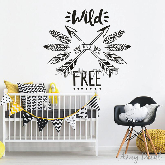 wild and free wall sticker woodland tribal wall decal inspirational