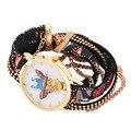 2016 Venta Caliente de La Manera Mujeres de Las Señoras Linda Jirafa Reloj de Pulsera Correa Larga de Punto Tejida Colorida Pulsera de Cadena de Cuero