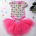 Stock 2017 Girls summer sets Baby 2 Pieces Suits short Romper +Tutu Skirt infant fashion cartoon clothing sets
