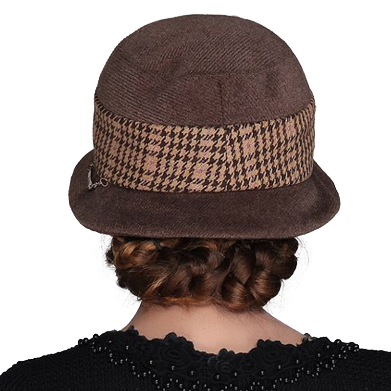 Sombreros elegantes para mujeres de ala ancha fieltro Fedora invierno Plaid  lana Fedoras sombrero plano plegable señora Iglesia Floppy Cap en Sombreros  de ... 991eda8bbdf