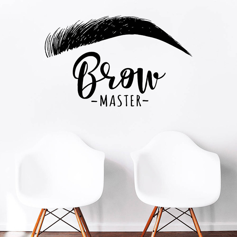 Brow Master Wall Decal Quote Eyelashes Eyebrows Vinyl Sticker Wallpaper Brow Bar Wall Window Decoration Easy Removable G11 1