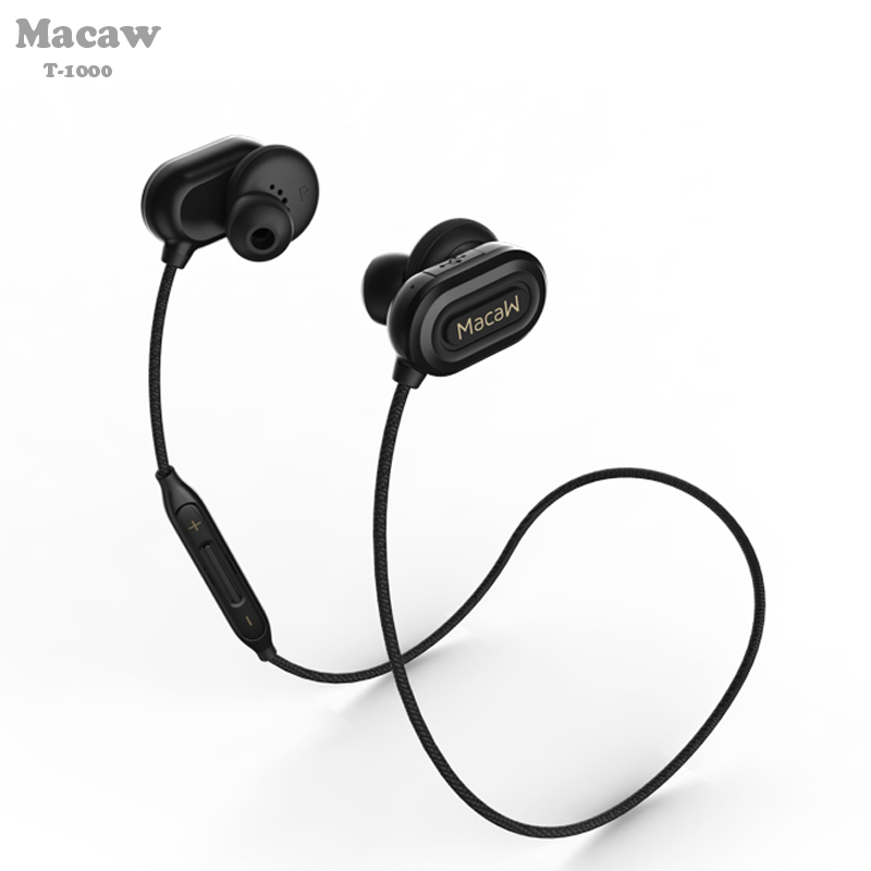 Macaw T-1000 4.1 black color wireless bluetooth ear hook headset sport running earplugs ear neckband earbuds support APTX APT-X macaw t1000 wireless bluetooth microphone sport hifi music in ear earbuds support hands free calls nylon braided cable