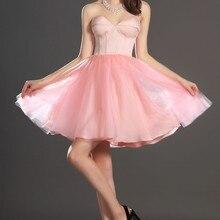 Новое фантастическое без бретелек милое короткое платье для выпускного вечера розовое коктейльное платье