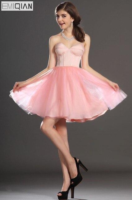 53b8a946ee Livraison gratuite nouvelle fantastique bretelles chérie courte robe de bal  robe de Cocktail rose