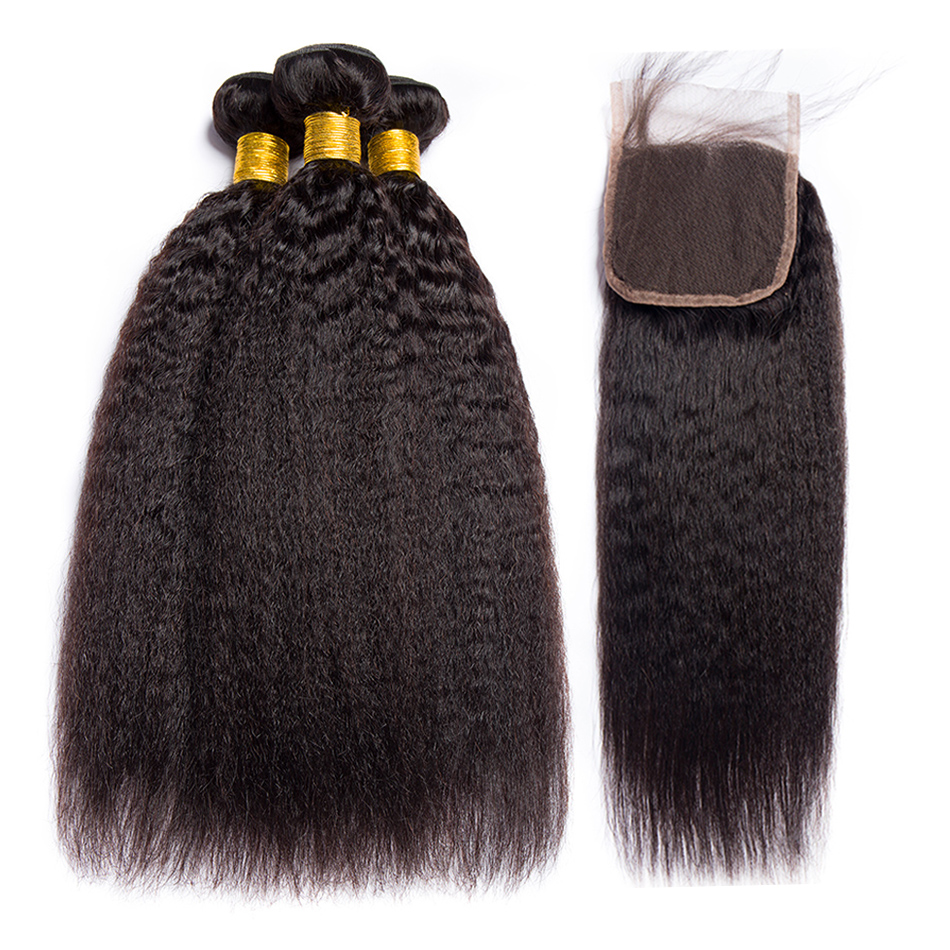 ALIBELE HAIR Kinky Straight Human Hair Bundles With Closure 4x4 Remy Brazilian Hair Weave Bundles with