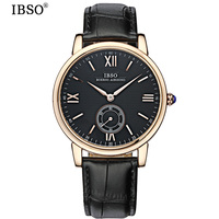 IBSO Mens Watches Top Brand Luxury Genuine Leather Strap Business Quartz Watch Men Relojes Hombre 2017