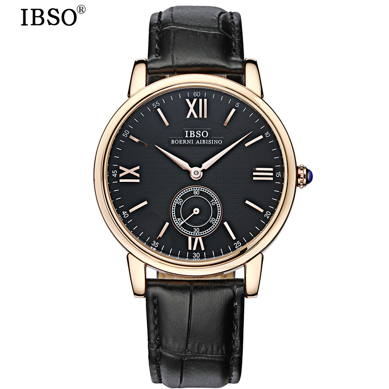 IBSO Mens Watches Top Brand Luxury Genuine Leather Strap Business Quartz Watch Men Relojes Hombre 2017 Fashion Relogio Masculino doobo men watch fashion mens watches top brand luxury leather business watch men clock saat relojes hombre 2017 relogio montre