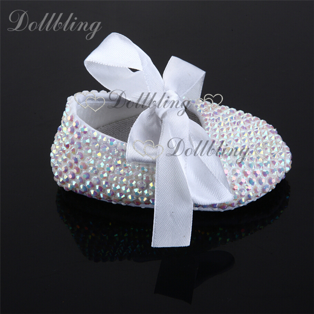 White AB Rhinestones Espadrilles handmade newborn baby Ballerina crystal sapatoes infant bling beading ribbon lace moccasins