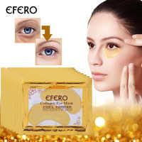 Efero Ouro Olho Máscara Hidratante Eye Patches Patch Folha de Ouro Cristal Colágeno Máscara de Olho Máscaras para os Olhos de Ouro do Cuidado máscara 5 Packs