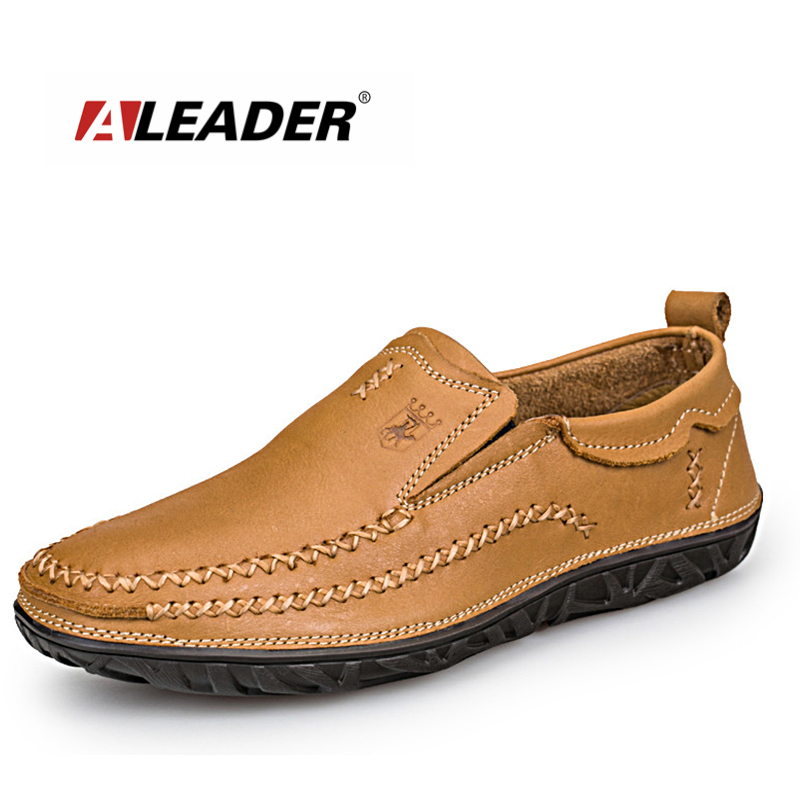Sales Men Outdoor Casual Shoes Aleader Brand Men's Comfortable Loafers Classic Slip On Flat Leather Shoes Men Oxfords sapatos vesonal 2017 top quality lycra outdoor ultralight slip on loafers men shoes fashion stripe mens shoes casual sd7005