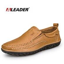 Продаж Мужчины Открытый Повседневная Обувь Aleader Бренд мужской Удобные Мокасины Классический Скольжения На Плоские Кожаные Ботинки Оксфорды sapatos