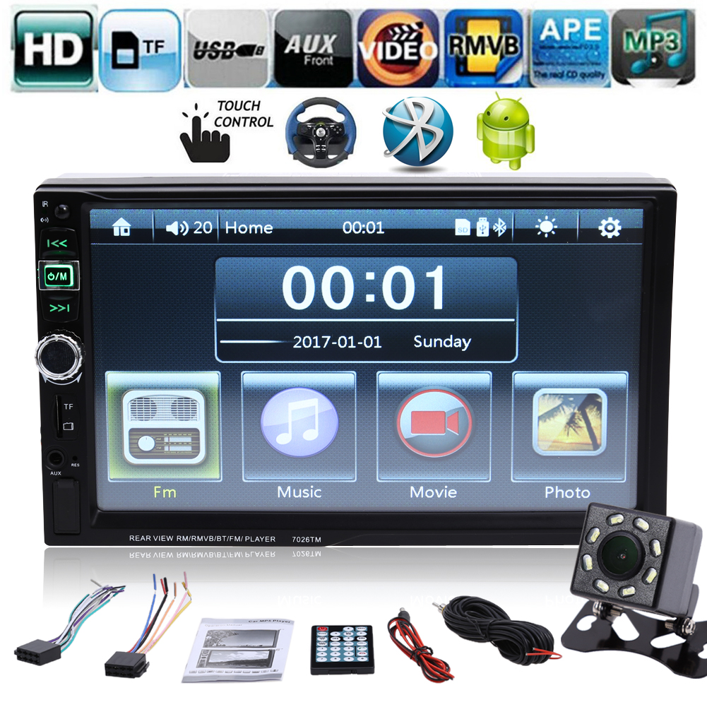 9 languages 2 DIN 7 inch Car Stereo MP5 Radio Player steering wheel control Touch Screen Bluetooth MP4 Player with Rear Camera 2 din car radio stereo mp5 mp4 player 6 6 inch touch screen rear camera dvr input fm steering wheel control bluetooth video